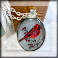 DREAMBIRD ART Cardinal R Silver Leaf Oval Pendant