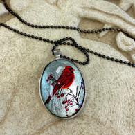 DREAMBIRD ART Cardinal R Silver Leaf Oval Pendant