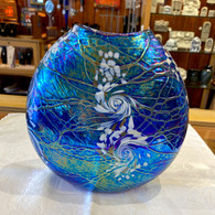 VINES ART GLASS Flat Vase Cobalt Swirt
