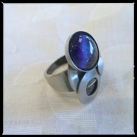 CHRISTOPHE POLY HANDMADE Royal Blue Circle Cat's Eye RING