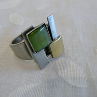 CHRISTOPHE POLY HANDMADE Olive Square Cat's Eye  RING