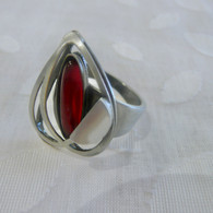 CHRISTOPHE POLY HANDMADE Red Heart Square Cat's Eye RING