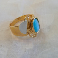 CHRISTOPHE POLY HANDMADE Teal Cat's Eye RING in Gold