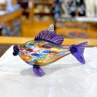 ART OF FIRE Purple Art Glass Fish