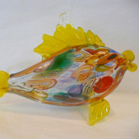ART OF FIRE Yellow Art Glass Fish