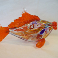 ART OF FIRE Orange Art Glass Fish