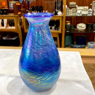 Tom Stoenner Art Glass Luster Blue Mother Vase