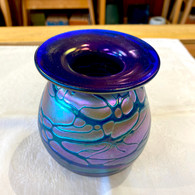 RICK HUNTER ART GLASS Blue Rainbow Vase