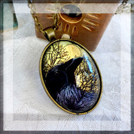 DREAMBIRD ART Raven Gold Leaf Pendant