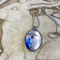 DREAMBIRD ART Great Blue Heron Silvery Leaf Pendant