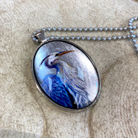 DREAMBIRD ART Great Blue Heron Silvery Leaf Pendant