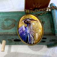 DREAMBIRD ART Great Blue Heron Gold Leaf Pendant