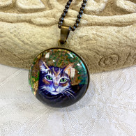 DREAMBIRD ART Tiger Cat Gold Leaf Pendant
