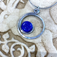 THE ARTIST JAY  Blue Curly Q Circle Necklace
