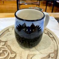 Fluffy Black Cat ceramic mug Hand-thrown & Handmade in the USA