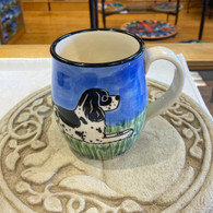 Black & White Cocker Spaniel hand thrown mug Handmade in the USA