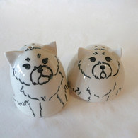 West Highland Terrier Ceramic Salt & Pepper Set Handmade in the USA