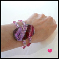 Rose Fused Glass Cuff Handmade in the USA