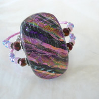 ORCHID FUSED GLASS MEMORY WIRE CUFF HANDMADE IN THE USA