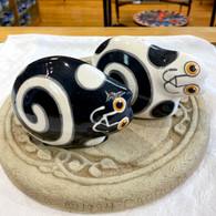 PALMER ART Black & White Cat Salt & Pepper Set