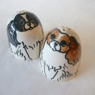 Handcrafted King Charles Cavalier Spaniel Salt & Pepper Ceramic Shakers Handmade in the USA