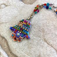 MICHAL GOLAN Multi-Floral Beaded Hamsa Necklace