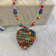 MICHAL GOLAN Multi-Colored Garden Heart Necklace