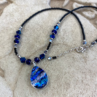 ICE BLUE FUSED GLASS & DICHROIC GLASS NECKLACE HANDMADE IN THE USA