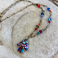 MICHAL GOLAN Petite Multi Colored Hamsa Necklace