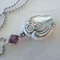 ANGEL BELL NECKLACE Amethyst Swarovski Crystal 1953 Magnolia Necklace 165