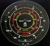 Dial image taken against a black background to illustrate white print. Dial glass is clear other than scale printing.