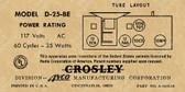 Crosley D-25BE Label (Item: LBL-CR-D25BE)