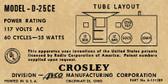 Crosley D-25CE Label (Item: LBL-CR-D25CE)