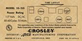 Crosley 10-135 Label-12SQ7 Version (Item: LBL-CR-10-135-12SQ7)