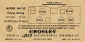 Crosley 10-135 Label-12AV6 Version (Item: LBL-10-135-12AV6)