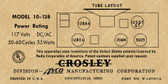 Crosley 10-138 Label-12SQ7 Version (Item: LBL-CR-10-138-12SQ7)