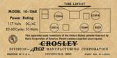 Crosley 10-136E Label-12AV6 Version (Item: LBL-10-136E-12AV6)