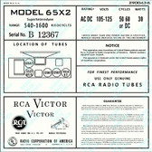 RCA Model 65X2 Label (Item: LBL-RC-65X2)