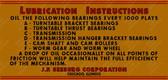 Classic Symphonola Lubrication Instruction Label (Item: LBL-SBG-004)