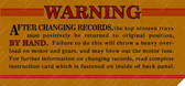 Classic Symphonola Warning Label (Item: LBL-SBG-005)