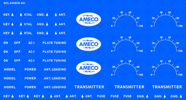 Decal illustrated on blue background to show white