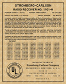 Stromberg Carlson Model 1101-H Patent Label (Item: LBL-SC-1101H)