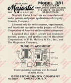 Majestic (Grigsby-Grunow) Model 381 Label (LBL-MJ-381)
