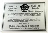 Apex Model 10B Chassis Label (LBL-APEX-10B)