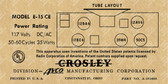 Crosley Model E15CE Label (Item: LBL-CR-E15CE)