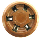 "6 Pin ""S"" Type Tube Socket - Brown Phenolic - 41,42, etc. (Item: SKT-6-P1-BRN)"