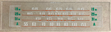 Dial image taken against a tan/brown background to better illustrate lighter portions of the dial scale. The dial is clear glass other than dial scale printing.