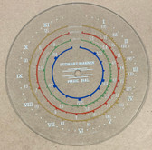 Dial glass illustrated against a tan background. Dial glass is clear other than dial scale print.