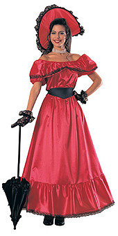 Southern Belle Costume Red Adult Colonial Dress