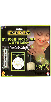 Glow-In-The-Dark Nail Polish, Body Glitter and Jewel Spider Tattoo